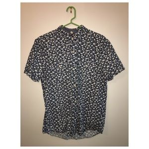 Flower Print Short Sleeve Button Down